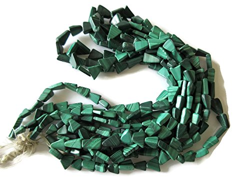 16 Inch Strand, Natural Malachite Fancy Triangle Bead Necklace, 8.5mm-10.5mm Beads -2588