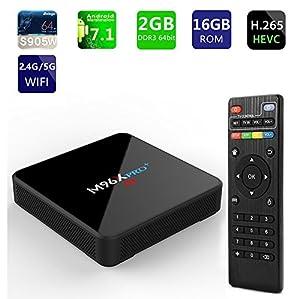 2018 New Android 7.1 Smart TV Box 2GB RAM 16GB ROM Dual Wifi 2.4G/5G with Bluetooth Amlogic S905W Quad Core M96X Pro 4K Internet Media Player