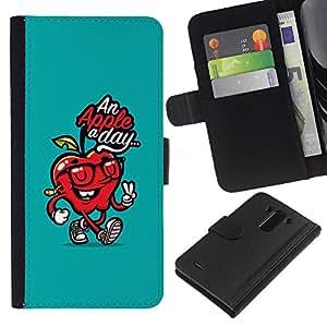 KLONGSHOP // Tirón de la caja Cartera de cuero con ranuras para tarjetas - Día doctor Away trullo Cita Roja - LG G3 //