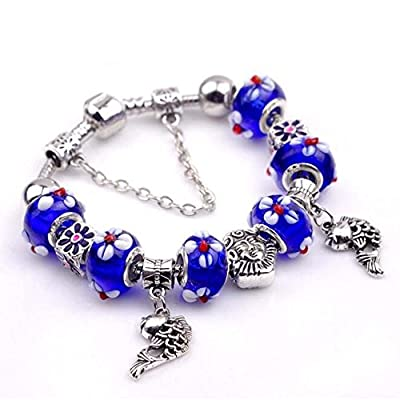 The Starry Night Sapphire Blue Beads Hand Carving Flowers Hollow Silver Little Fishs Pendant Bracelet