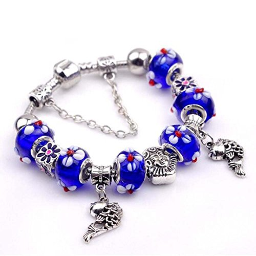 The Starry Night Sapphire Blue Beads Hand Carving Flowers Hollow Silver Little Fishs Pendant - Dark After Sunglasses Band