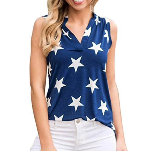 HGWXX7 Women Casual Vest Star Printed V Neck Tank Top Blouse T-Shirt (L, Blue) (Blouse Velvet Silk)