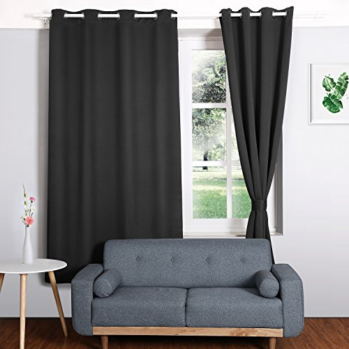 HOMFY Blackout Curtains for Bedroom, Thermal Insulated Panels Set of 2, Free 2 Ties for Pulling Back Drapes, Soft to Touch, Dust and Wrinkle Resistant (Black, 42