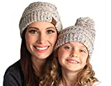 fWH.KP-6033-67 Womens Beanie Kids Hat Matching Bundle (POM) - Confetti Oatmeal