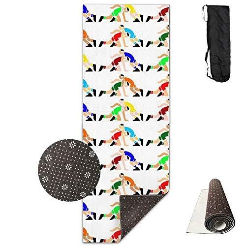 KIOT156 Wrestling Wrestlers Yoga Mat Cute Yoga Towel Exercise Mat Non-slip High Density by KIOT156