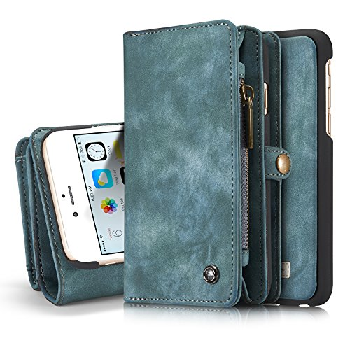 iPhone 6s Detachable Wallet Case XRPow 2In1 Multi-Functional Removable Magnetic Back Cover 11 Card Slots & 3 Cash Pocket Premium Folio Zipper Wallet Case for iPhone 6/6s 4.7 Blue