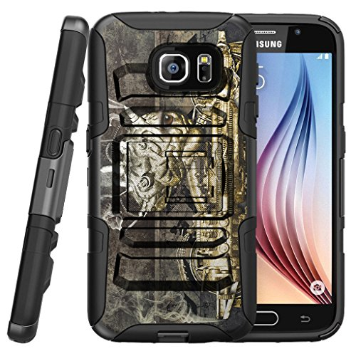 TurtleArmor | Compatible for Samsung Galaxy S7 Case | G930 [Hyper Shock] Armor Rugged Hybrid Cover Kickstand Impact Silicone Carry Belt Clip Holster Robot Android Design - Steampunk Machine by TurtleArmor