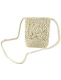 Donalworld Women Bow Cute Crochet Sling Beach Summer Purse Straw Shoulder Handbag