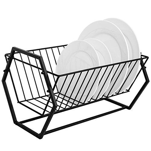 Countertop Black Metal Dish Drying Rack, Hexagonal-Design 14