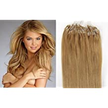 New 20 inch Easy Loop Micro Rings Beads Tipped Remy Human Hair Extensions Straight color 27-strawberry blonde/honey blonde/50g/100s