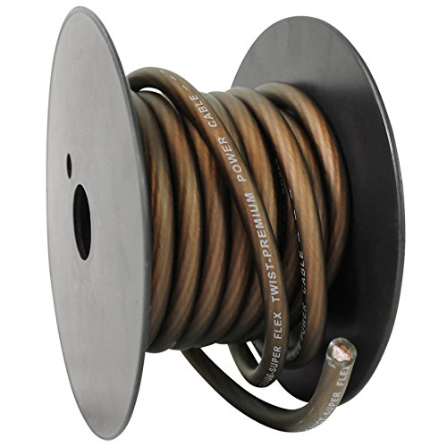 Rockville R8G20B 20' Foot 8 Gauge Black Car Amp Power/Ground Cable Install Wire ()