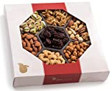 Nut Cravings Gourmet Nut Large Holiday Gift Tray with Striking Presentation – 7-Section Holiday or Anytime Assorted Nuts Gift Basket
