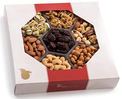 Holiday Nuts Gift Basket, Large 7-Sectional Elegant Nuts Assortment, Gourmet Christmas Food Box Prime Gift, Great for Thanksgiving, Birthday, Mothers, Fathers Day, Corporate Tray By Nut Cravings]()