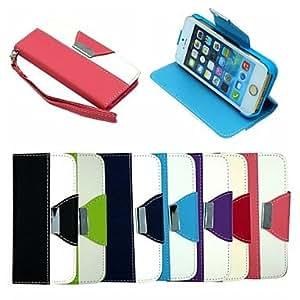 ZXM- billetera de cuero flip caso del soporte del cuero tapa con soporte de la tarjeta para el iphone 5 / 5s (colores surtidos) , Azul Oscuro
