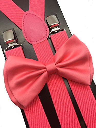 (4everStore Unisex's Bow tie & Suspender Sets (Coral)