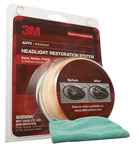 3M Headlight Lens Restoration System Bundle with Microfiber Cloth (2 Items)