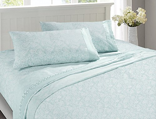 Microfiber Sheet Set-100% Brushed Lace Breathable Lightweight 4-Piece Sheets, Wrinkle Resistant, Soft& Cool Embroidery Bedding Damask Style Printing Design(ICE Blue, Queen)
