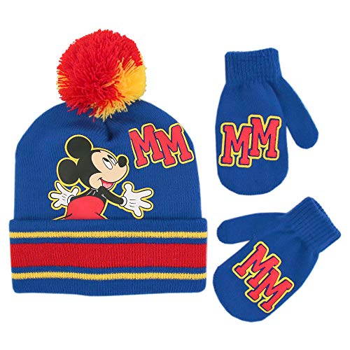 Disney Boys' Toddler Mickey Clubhouse Beanie Hat and Mittens Cold Weather Set, Blue/red, Age 2-4