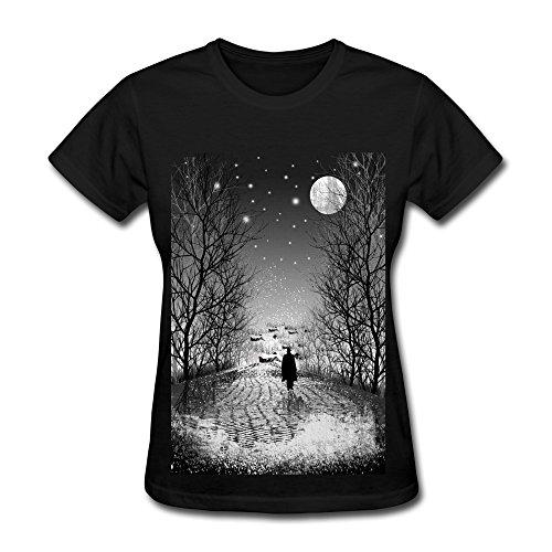FACAI Women's Lonely Winter Cotton O Neck Short Sleeve T-Shirt Tee Black XXL