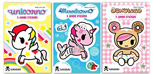 Re-marks Tokidoki Jumbo Sticker (3 Pack) - 3 Sheets Each Donutella, Mermicorno, Unicorno (9 Sheets Total)