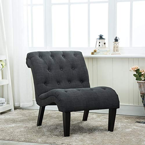 Haobo Home Modern Accent Lounge Chair with Linen upholstered Armless Tufted Button Casual Chair for Living Room (Dark Grey2)