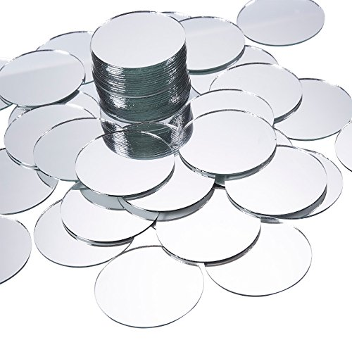 Juvale Craft Mirror - 60-Pack Mini Mirror Circles, Glass Mosaic Tile Pieces -