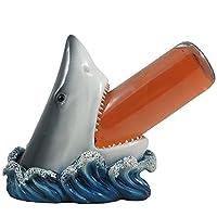 Gran estatua decorativa del tenedor de botella del vino del tiburón blanco para la barra de la playa o las esculturas de la decoración de la cocina y el estante de mesa del vino de Stands por los regalos de Home 'n