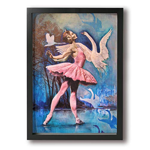 Little Monster Ballet Dance Girl and Swans Framed and Stretched Painting On Canvas Home Decorations Occident Style Art for Boys and Girls Bedroom Black