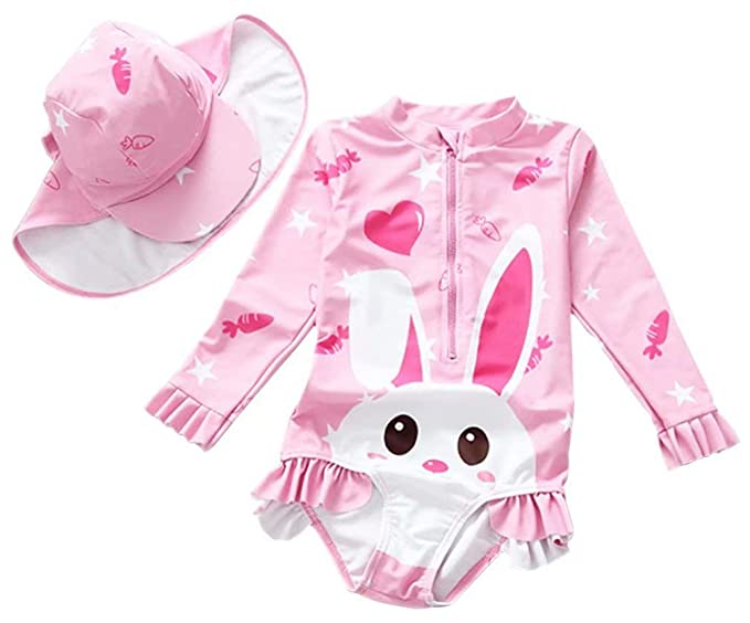 6f957878ca0df Kids Baby Girls Cute Bunny Rabbit Rash Guard One-Piece Swimsuit Sun  Protection Bathing Suit
