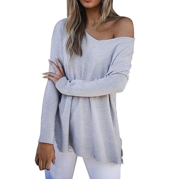 2018 Camisas Mujer Blusas Sexy con Cuello en V Camisetas Mujer Ocasionales Tops de Manga Larga para Mujer Suéter Pullover Outwear: Amazon.es: Ropa y ...
