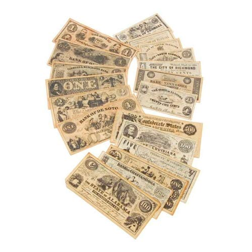 Civil War Currency - Civil War Era Paper Currency Replicas, 18 Notes