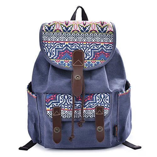 DGY Fabric Backpack School Rucksack Cute Canvas Backpack for Girls 137 blue