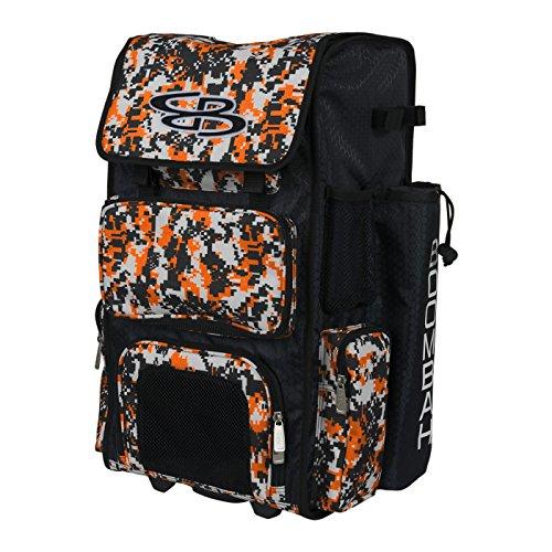 "Boombah Rolling Superpack Baseball / Softball Gear Bag - 23-1/2"" x 13-1/2"" x 9-1/2"" - Camo Black/Orange - Telescopic Handle and Holds 4 Bats - Wheeled Version"