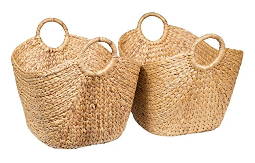 BirdRock Home Water Hyacinth Laundry Baskets (Natural) | Two Baskets Included | Hand (Natural Woven Baskets)