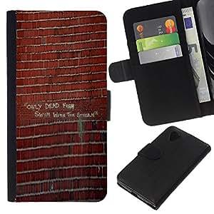 """Be-Star la tarjeta de Cr¨¦dito Slots PU Funda de cuero Monedero caso cubierta de piel Para LG Nexus 5 D820 D821 ( Pared de ladrillo pintada Arte de la calle del edificio"""" )"""
