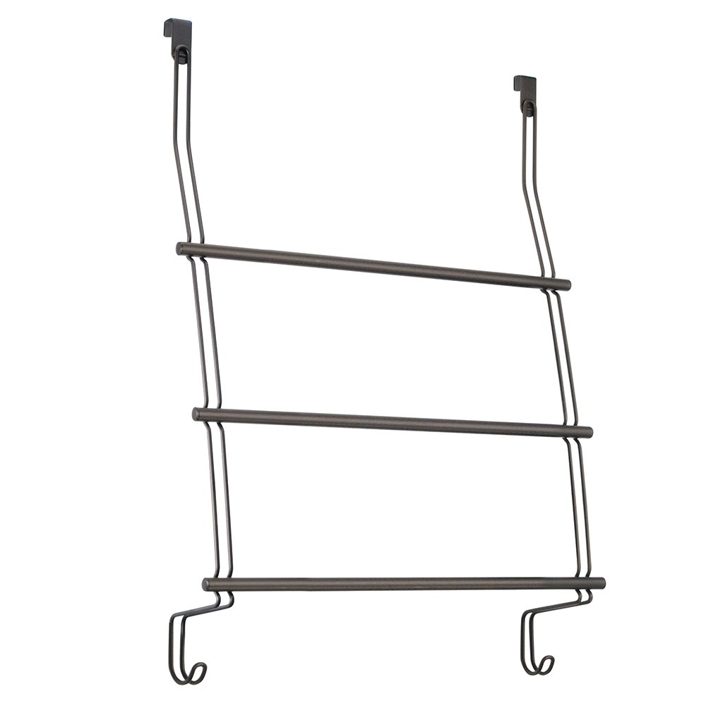 InterDesign Classico Over Shower Door Towel Rack for Bathroom - Matte Black 69112