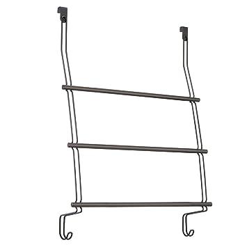 High Quality InterDesign Classico Over The Door Towel Rack With Hooks For Bathroom    Bronze
