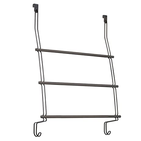 InterDesign Classico Over The Door Towel Rack With Hooks For Bathroom    Bronze