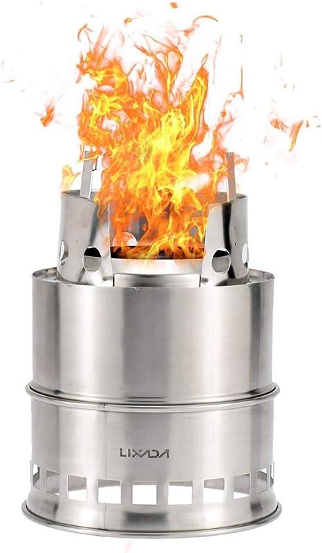 Lixada Estufa de Leña y Alcohol Solidificado Hornillo Portátil Ligero de Acero Inoxidable para Cámping Picnic Cocina Barbacoa Al Aire Libre