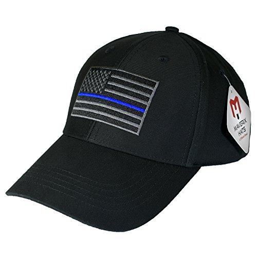 Maverix Hats Thin Blue Line Hat - Police Officer Hat Cool Baseball Caps Flag Cap Police Cap Officer Cap Blue Line Hat Police Officer Cap Washed Adult Adjustable Law Enforcement