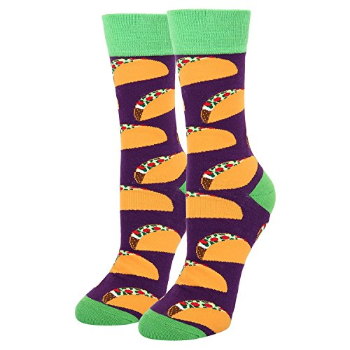 Women's Novelty Crazy Food Crew Socks,Funny Taco Cozy Dress Socks in Grey