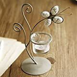 European Wrought Iron Glass Simple Butterfly Candle Holder Creative Home Accessories Candlelight Dinner Candle-Single Head1