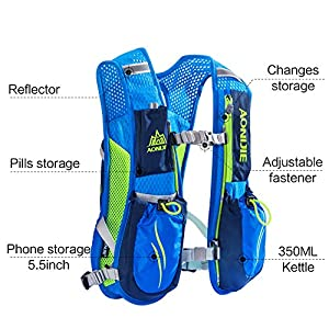 AONIJIE Running Vests Hydration Pack with 1L Hydration Bladder Camel Pack Backpack for Trail Running Cycling Marathon Race 5.5L(blue-1L)