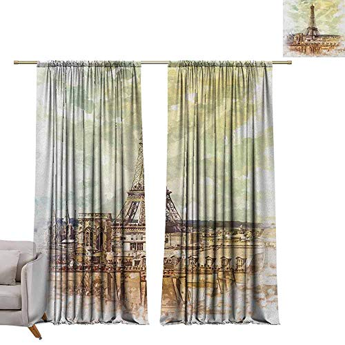 - Bedroom Curtains Eiffel Tower,Pastel Watercolor Style Print Vintage Eiffel Tower Skyline Parisian Theme Art, Brown Beige W72 x L84 Printed Window Curtains for Kitchen