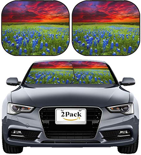 MSD Car Sun Shade Windshield Sunshade Universal Fit 2 Pack, Block Sun Glare, UV and Heat, Protect Car Interior, Image ID: Texas Pasture Filled with Bluebonnets at Sunset Image 30658577 Sta