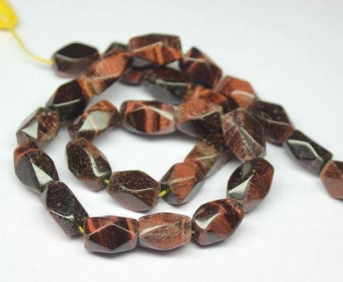 Natural Tiger Eye Faceted Rectangle Nugget Gemstone Loose Craft Beads Strand Strand 14