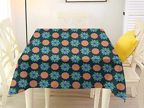 Square Tablecloth Easy Clean Floral Flourishing Flower Blooms Vibrant Toned Spring Season Foliage Leaves Retro Garden Multicolor Stain 54 x 54 Inch