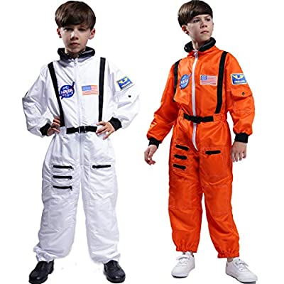 Maxim Party Supplies Kids Astronaut Costume Space Suit Onesie with Embroidered Patches and Pockets: Clothing