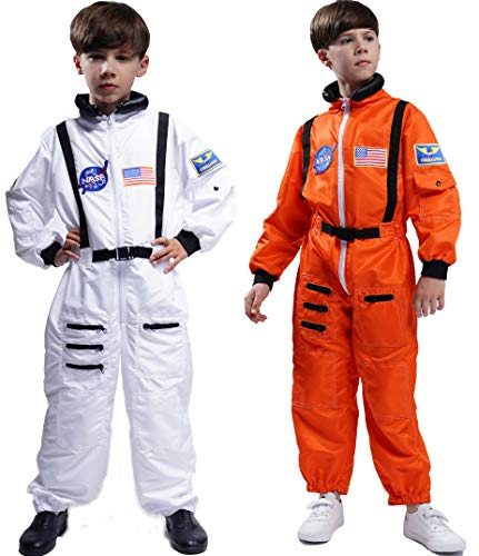 Space Suit Costumes (Maxim Party Supplies Kids Astronaut Costume Space Suit Onesie with Embroidered Patches and Pockets for Children, Boys, Toddlers (2/3,)