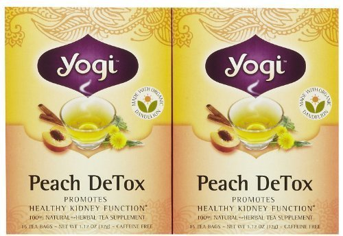 Yogi Tea Peach Detox, Herbal Supplement, Tea Bags, 16 ct, 2 pk